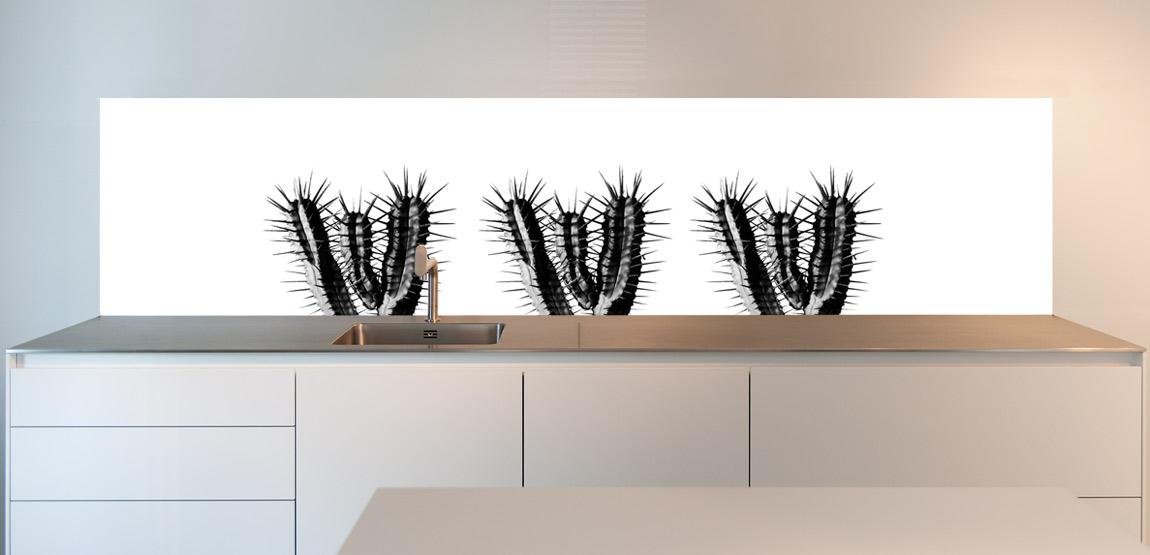 Three Cactuses on your Kitchen Splashback. Order the Cactus Splashback on SoWhat-design.com