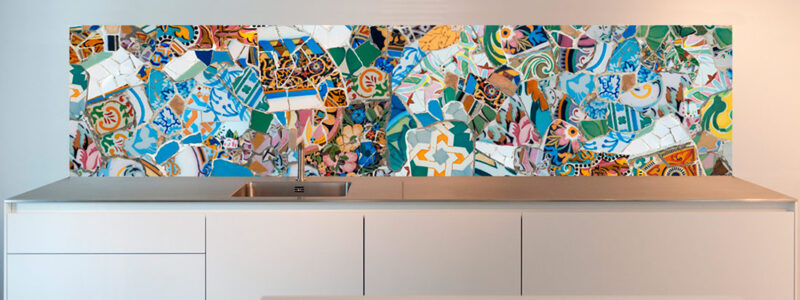 Parc Guell, Gaudi Mosaic Splashback design available at SoWhat-design.