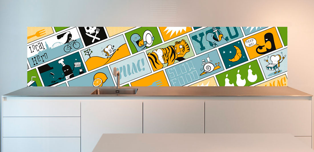 A Pop-Art design by artist Roel Seidell for your kitchen back wall.