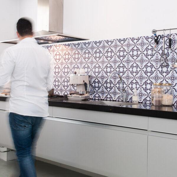 Blue Tiles on a Kitchen Splashback. Visit our website for more Splashbacks.