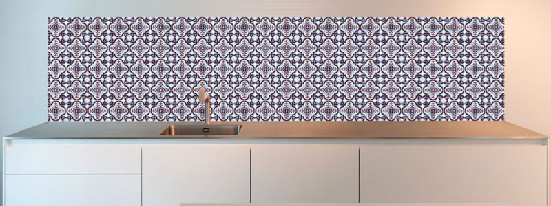 Tiles kitchen splashback design - blue Portuguese seamless tiles alternative