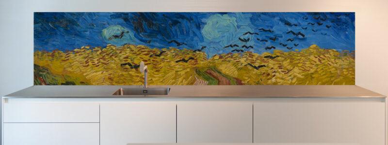 keuken foto achterwand korenveld met kraaien