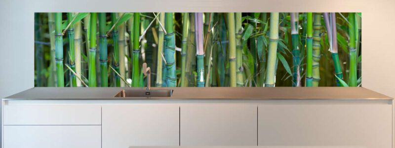 Keukenachterwand met bamboe