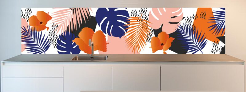 "Kitchen wallpaper; ""Jungle in Orange"""
