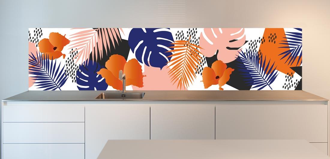 "Kitchen wallpaper; ""Jungle in Orange"""