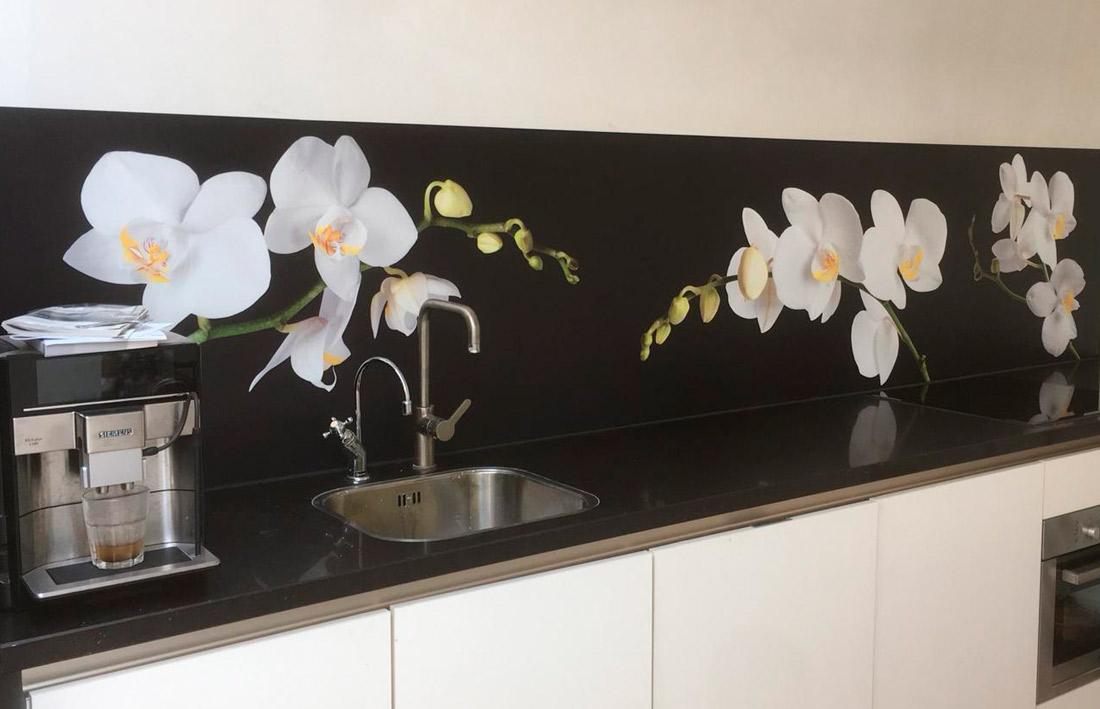 Orchideeën keuken achterwand
