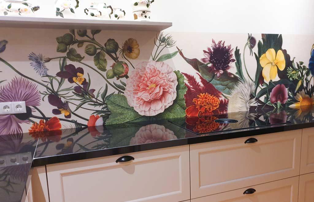 Keuken spatwand bloemen