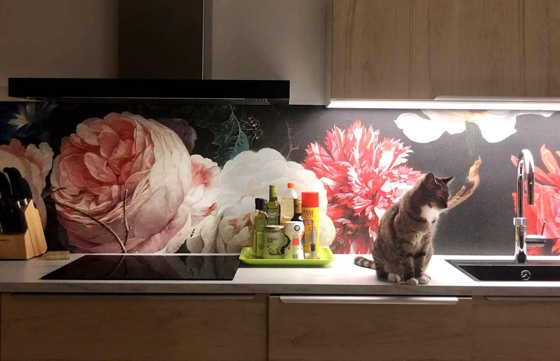 keuken achterwand stilleven bloemen